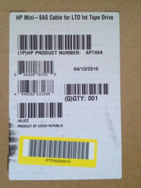 HP Mini SAS Cable for LTO Int Tape Drive AP746A